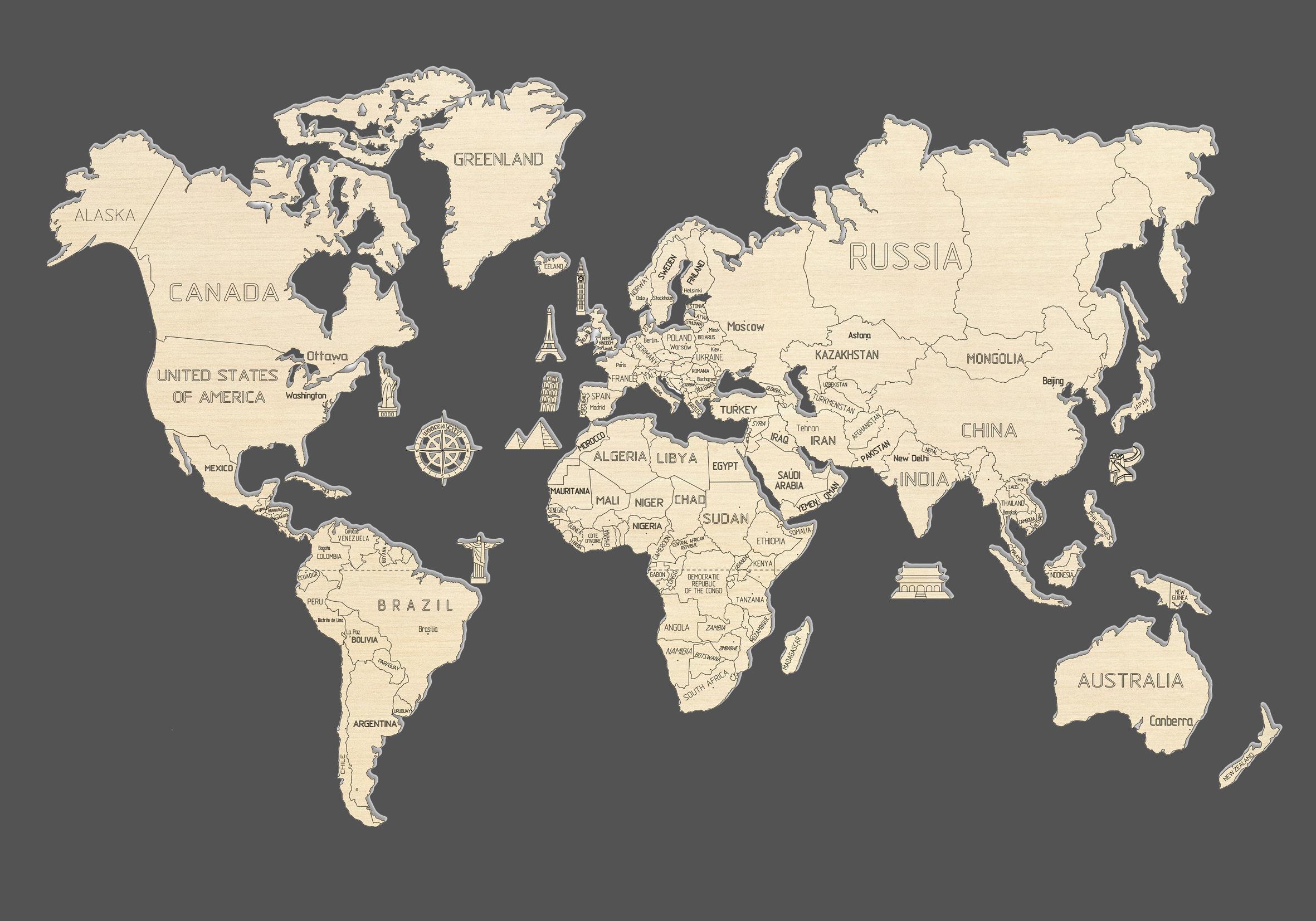 World Map XL - WOODEN.CITY